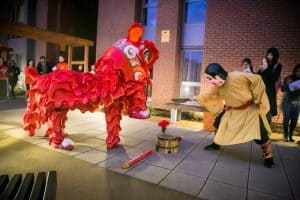 chinese dragon and dancer