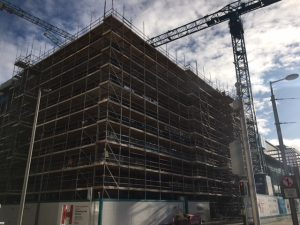 scaffolding on building at Central Point Campus