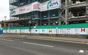 building site with Host hoardings