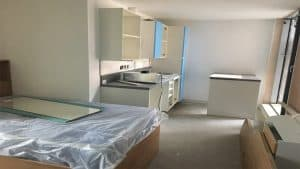 kitchen fitted in studio room