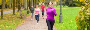 Four-Young-Woman-Out-Running-