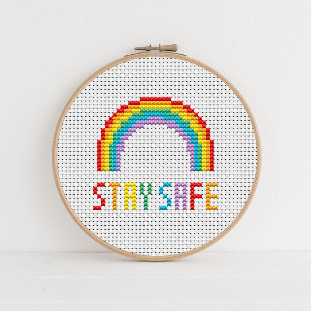 CreativeThursdays NHS Rainbow Art - Stay Safe Rainbow Cross Stich