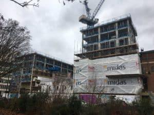 building half under wrap