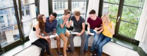group of friends receiving their exam results