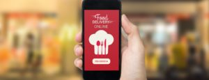 mobile phone with food delivery app