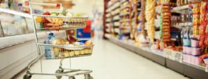 trolley in supermarket aisle