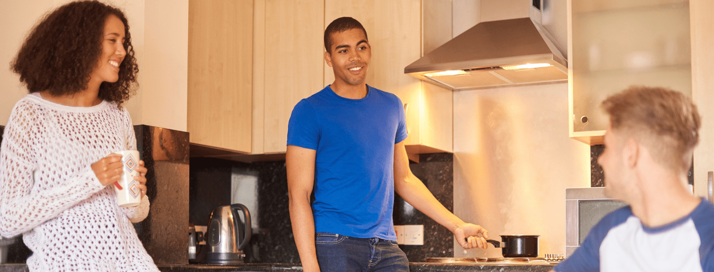 Students cooking in student accommodation