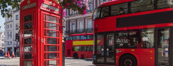 London phone box and Double-decker bus
