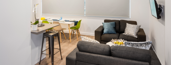 sofas and dining table