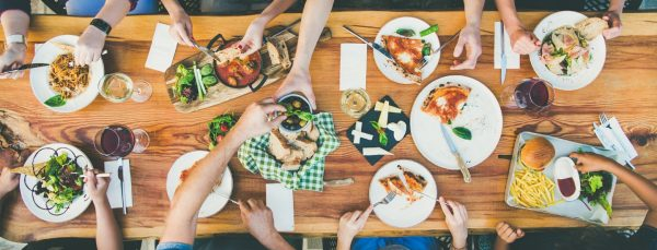 choice of meals laid out on long table