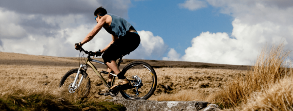 Man on mountain bike in Dartmoor National Park
