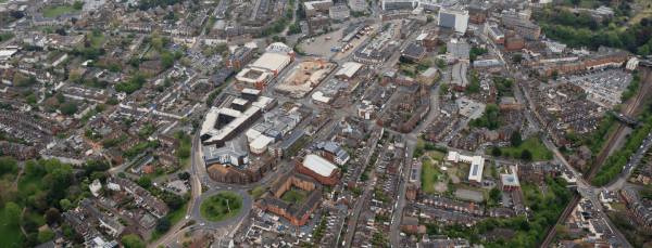 aerial view exeter showing the printworks for city page